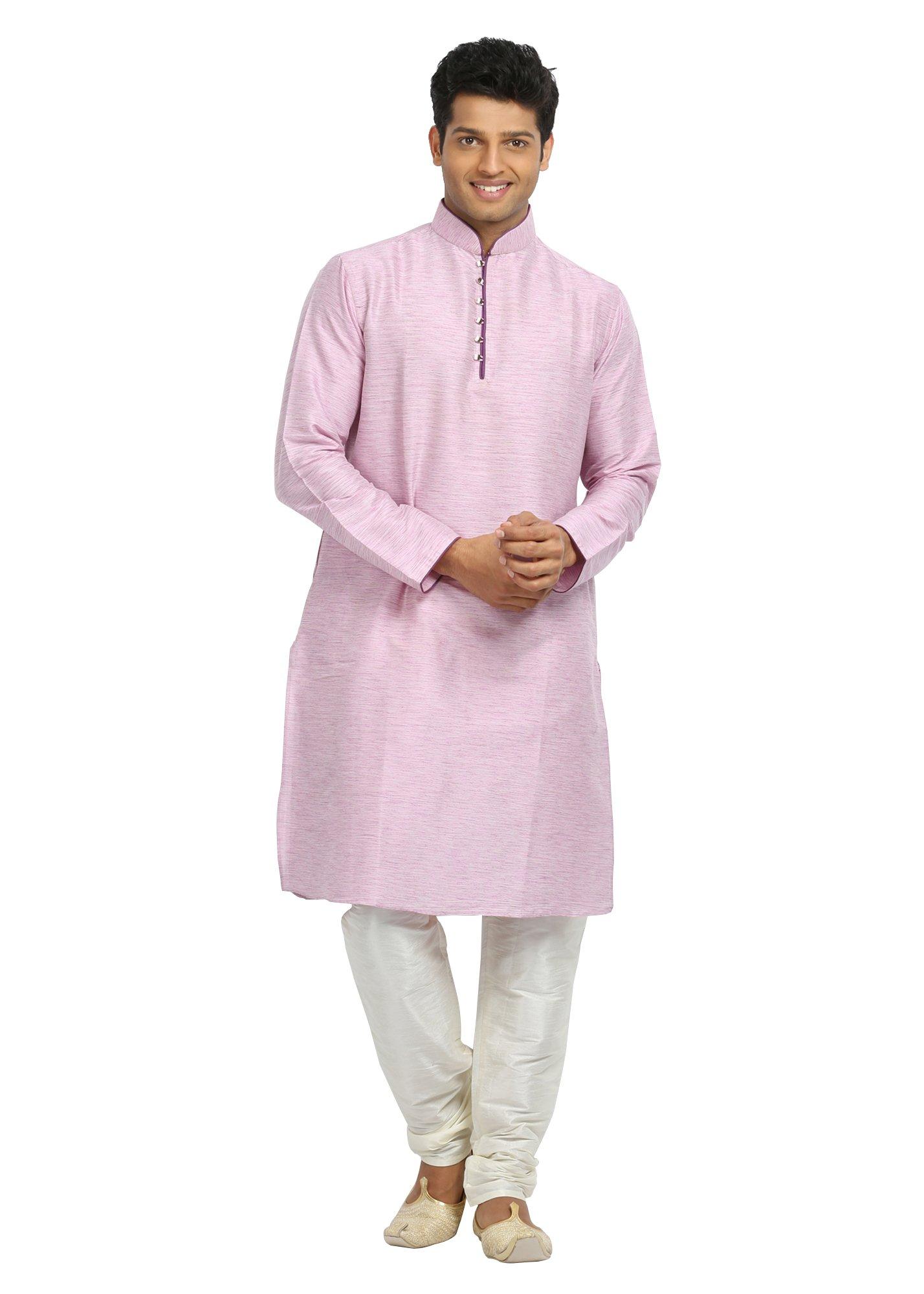 Saris and Things Light Pink Cotton Linen Indian Kurta Pajama for Men