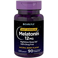 Carlyle Melatonin 12 mg Fast Dissolve 90 Tablets | Nighttime Sleep Aid | Natural Berry Flavor | Vegetarian, Non-GMO, Gluten Free