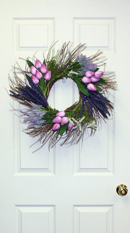 Worth Imports 22 Tulip Heather Natural Twig Base Purple Wreath