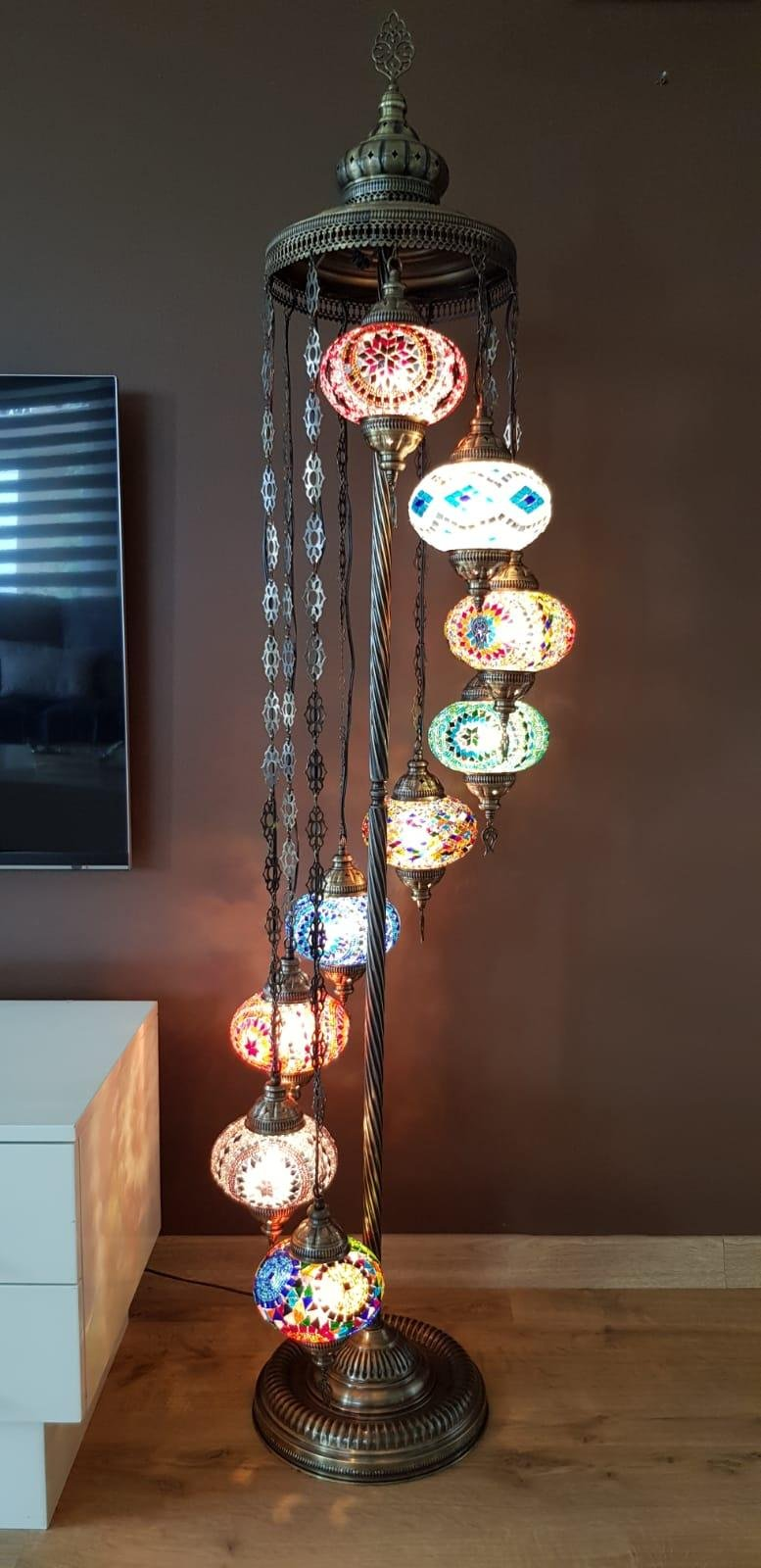 DEMMEX Turkish Moroccan Mosaic Floor Lamp for US with US Plug (9 X 6.5'' Globes)