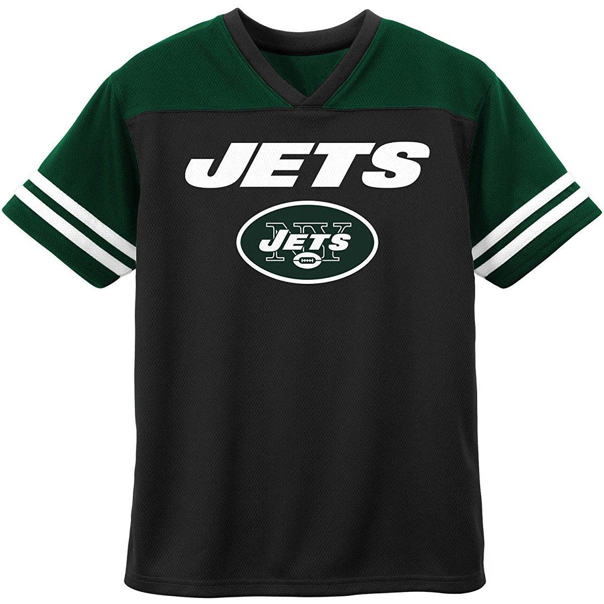dd2e5607d5c Amazon.com  New York Jets Black Green NFL Boys Youth Team Apparel V Neck  Jersey  Clothing