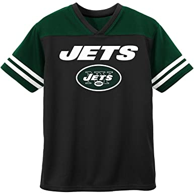 8dd92a39e32a0 New York Jets Black Green NFL Boys Youth Team Apparel V Neck Jersey (Large  10