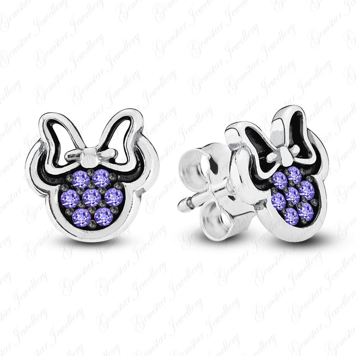 Gemstar Jewellery 18K White /& Black Gold Finish Round Shape Purple Tanzanite Minnie Mouse Earrings