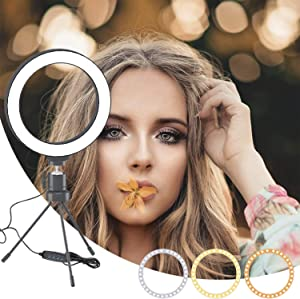 "MOUNTDOG 6"" Selfie LED Ring Light with Stand Circle Lighting Remote Control for Make-up/YouTube Video/Live Streaming Dimmable 3 Light Modes Mini Desktop"