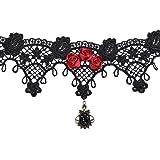 Demiawaking Tenflyer–Collare gotico da donna, stile retro Gothic Lolita in pizzo, collana girocollo, #9, #9 …