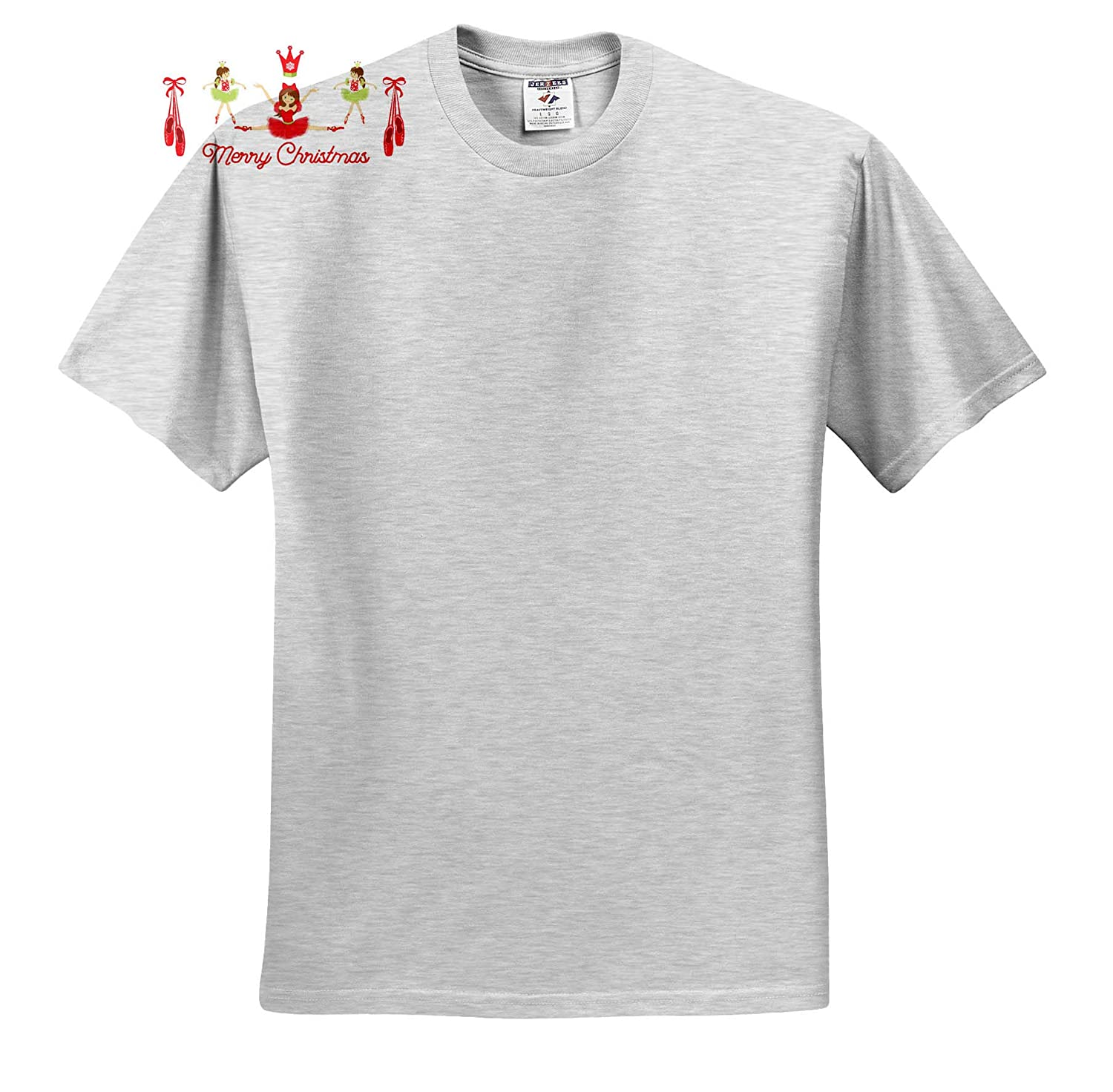 Three Ballerina Salute to Christmas in Red and Green 3dRose TNMGraphics Christmas T-Shirts