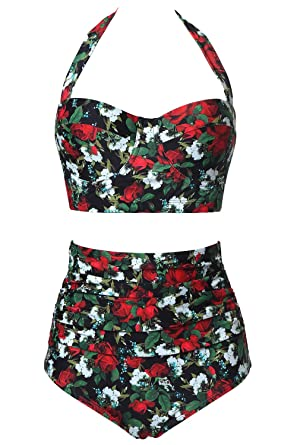 2c27e5c02bf Amazon.com: CHERRY CAT Womens Vintage Retro Polka High Waisted Underwire  Bikini Two Piece Swimsuits: Clothing