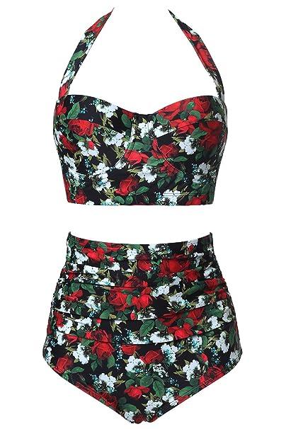 89dc17d862 CHERRY CAT 50s Pin-Up Swimwear Retro Swimsuit High Waist Bikini (Small (fits