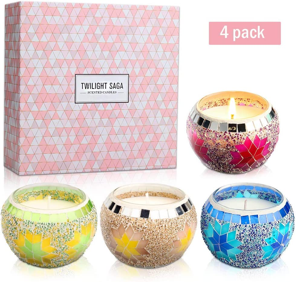 Tarocoo Orange Agilwood for Stress Relief and Aromatherapy- 4 Pack Lavendar Copal Yinuo Mirror Scented Candles Gift Set Handmade Mosaic Design Votive Candle Gift for Man 2.5 Oz Per Cup