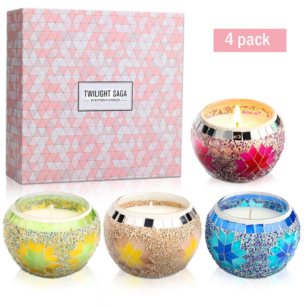 YMING Scented Candles Gift Sets of 4, Mosaic Cup 4.4 Oz Natural Soy Wax Stress Relief Candle Gift for Women Birthday Bath Yoga Anniversary Honeymoon Valentine's by YMing