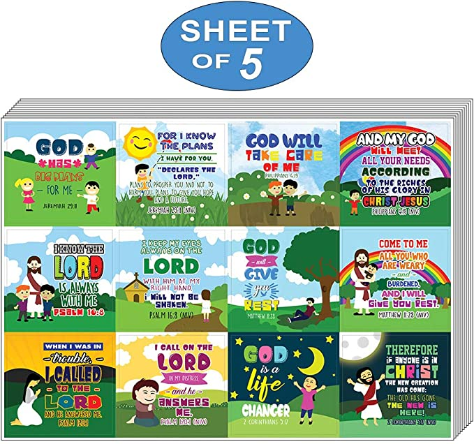 Unique Designs NewEights God is in Control Religious Stickers Waterproof Any Flat Surface DIY Decoration Art Decal for VBS - Total 60 pcs 5 x 12pcs 5 Sheet Individual Small Size 2.1 x 2 Inches