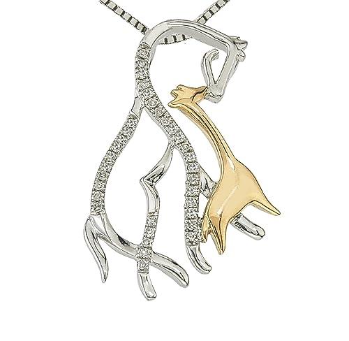 Diamond Horse Mom Child Necklace