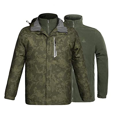 3 in 1 Winter Camouflage Jackets for Men Waterproof Windproof Detachable Hood Lining Coat Perfect for Motorcycle: Clothing
