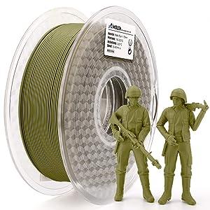 AMOLEN PLA 3D Printer Filament,Army Green Matte PLA Filament 1.75mm,3D Printing Material 1kg
