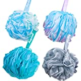 Aquior Bath Sponge Shower Loofahs Mesh Pouf Body Scrubber Ball for Exfoliate, Full Lather Cleanse, Soothe Skin