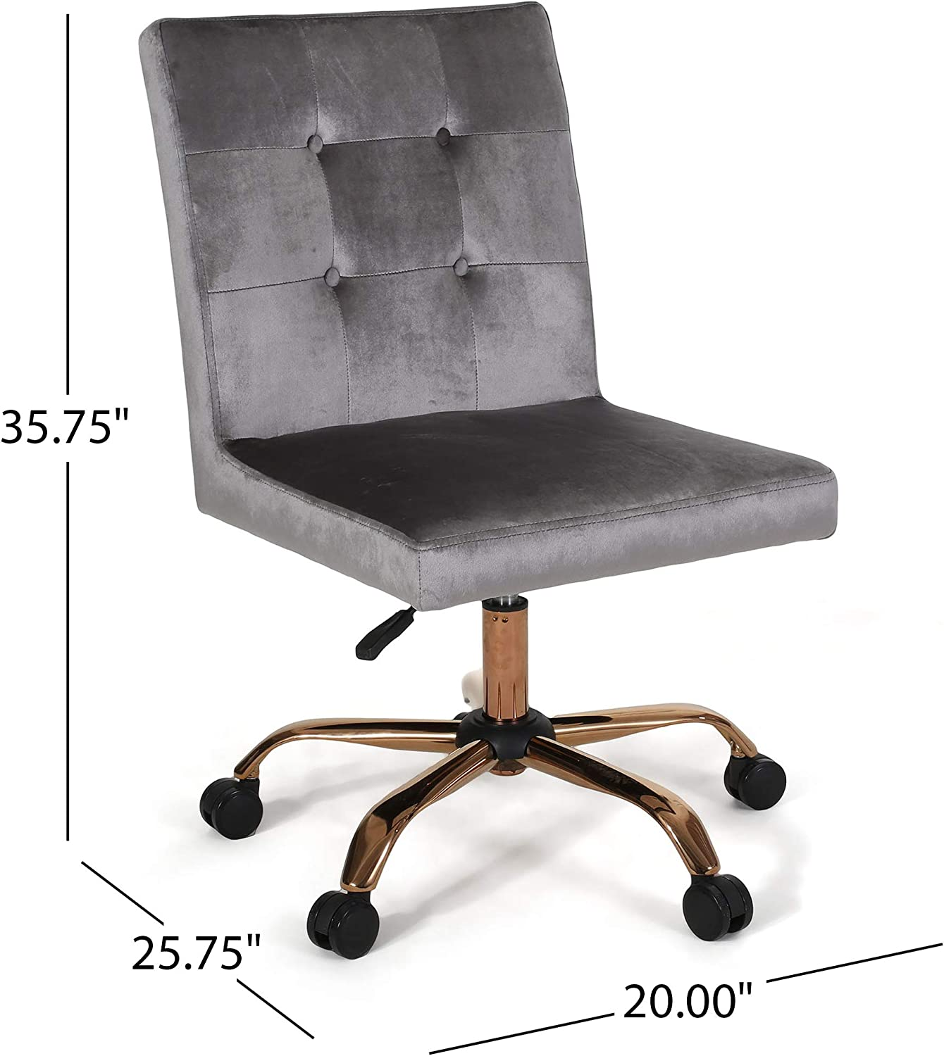 Amazon Com Theodore Glam Tufted Home Office Chair With Swivel Base Smoke And Rose Gold Finish Office Products