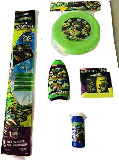 Teenage Mutant Ninja Turtles Outdoor Collection Set includes Kite, Flying Disc, Shampoo, Bubbles