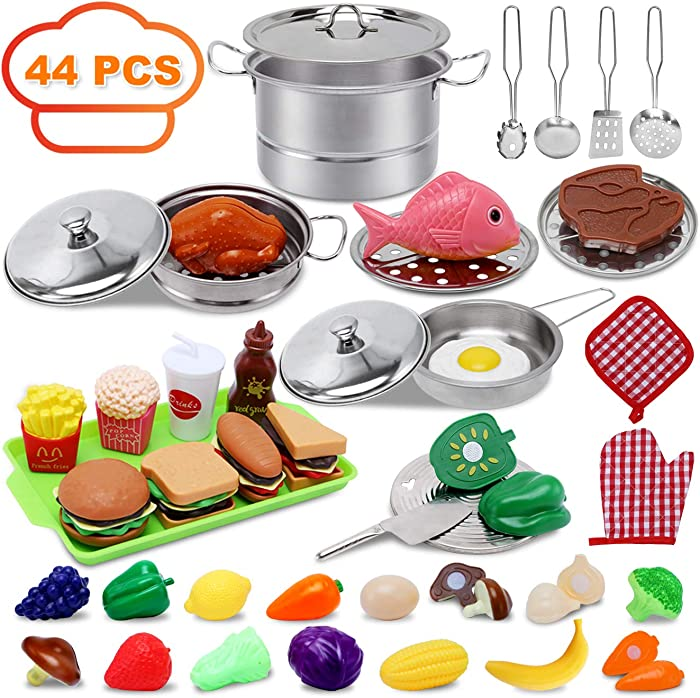 Kitchen Toys for 3 4 5 6 Year Old Girls Boys,Play Kitchen Accessories,44 PCS Play Food Set for Kids Kitchen with Stainless Steel Cookware Pots and Pans, Play Food Toy for Age 3-6 Years Old Toddlers