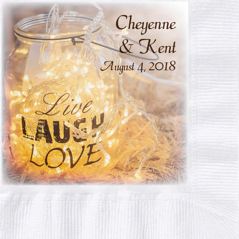 Custom Printed Wedding Napkins, Fairy Lights Lantern Design, 250 ct