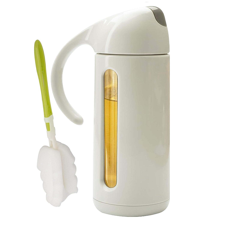 Botella dispensadora de aceite de oliva iRayer de 320 ml, botella de aceite de vidrio sin goteo, botella de aceite de oliva utilizada para cocina, botella de salsa de soja, botella de vinagre, condimento de cocina con tapa automática. gris