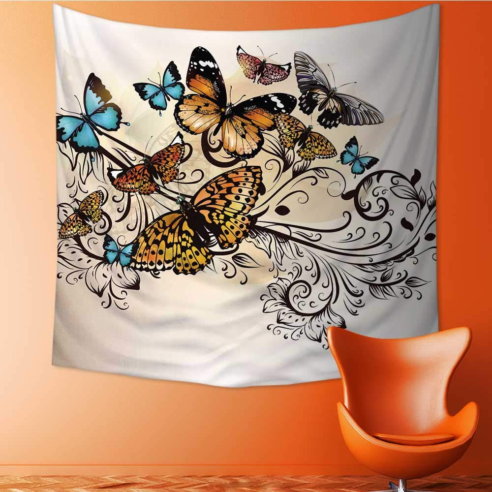 UHOO2018 Square Tapestry Butterfly Monarch Butterflies Vintage and DamaskOmbre Floral Cream Orange and Blue for Hotel Throw, Bed, Tapestry, or Yoga Blanket 47W x 47L Inch