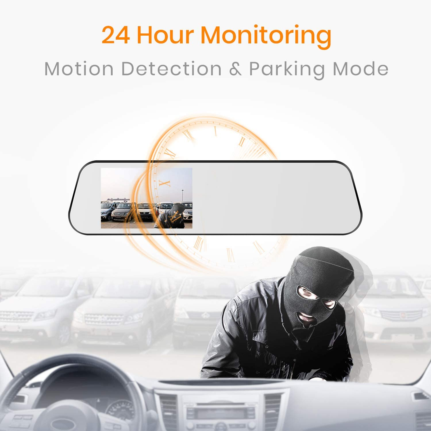Motion Detection BOSCAM Touch Screen Backup Camera Mirror Dash Cam Waterproof Back up Car Camera and 4.5-inch Full HD 1080P Rear View Mirror Cam Video Recorder with G-Sensor,Loop Recording