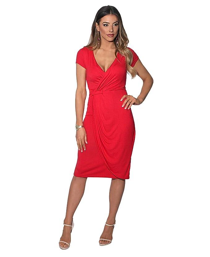 564ac0e30df KRISP Robe Courte Femme Cache-Coeur Mode Chic Col V  Amazon.fr  Vêtements  et accessoires