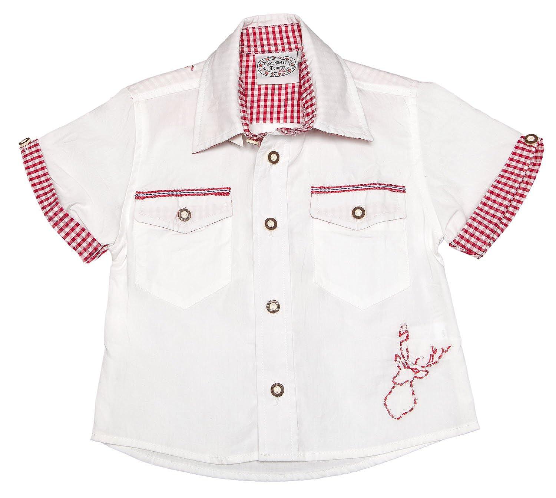 Stützle St. Peter Trachten Kinder Trachtenhemd 70.194 weiß rot