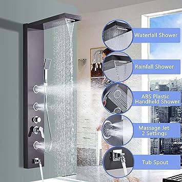 Onyzpily - Columna de ducha de acero inoxidable con alcachofa y 3 ...