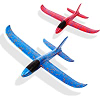kizh Throwing Foam Airplane Toys 13.5 Inches Flying Glider Inertia Plane Manual Circling Functions Flying Aircraft Fun Best Outdoor Fun for Kids Children Boys Girls 2pcs