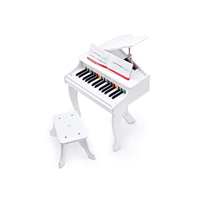 Hape Deluxe White Grand Piano | Thirty Key Piano Toy with Stool, Electronic Keyboard Musical Toy Set for Kids 3 Years+: Toys & Games