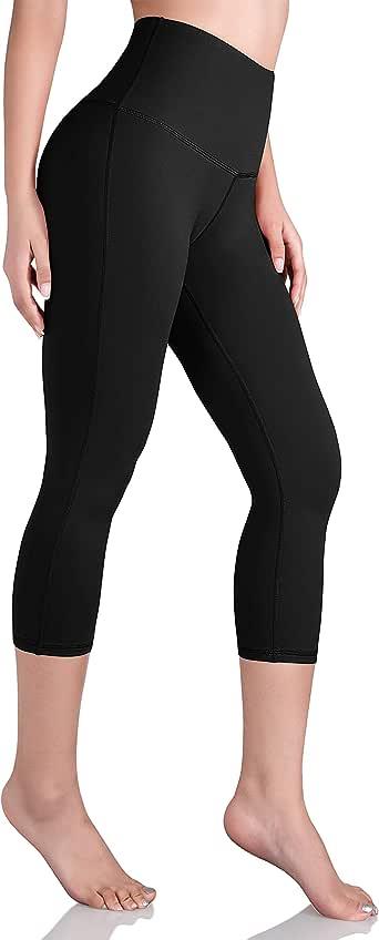 ODODOS Women's High Waist Yoga Capris, Tummy Control Workout Yoga Leggings with Inner Pocket