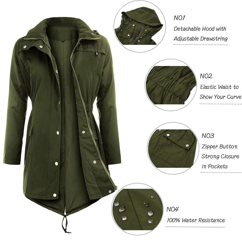 Uniboutique Raincoats Waterproof Lightweight Rain Jacket Active Outdoor Hooded Women's Trench Coats,Army Green,Medium