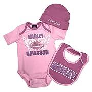Harley-Davidson Baby Girl Gift Set 3/6M Hat, Bib, Bodysuit