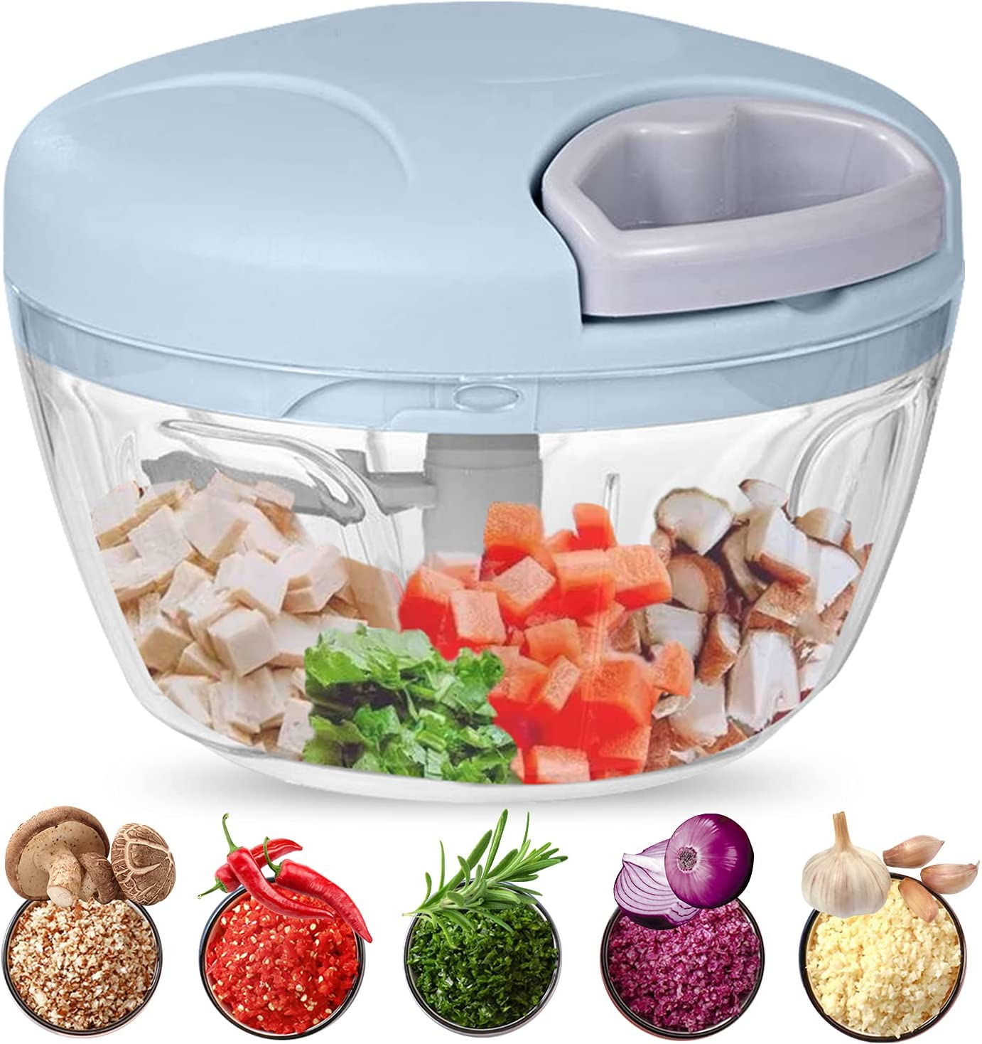 Food Chopper, 500ML Hand-Powered Portable Food Processor, Manual Vegetable Slicer and Dicer, Pull Chop Mechanism Cutter for Garlic, Onion, Vegetable, Salad, Pepper (Blue)