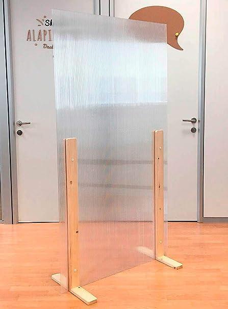Mampara protección separadora gran estabilidad (Pies color nogal 100 X 180 cm). 24 combinaciones disponibles. Separación para peluquerías hoteles fábricas oficinas puestos de trabajo bares comercios.: Amazon.es: Oficina y papelería