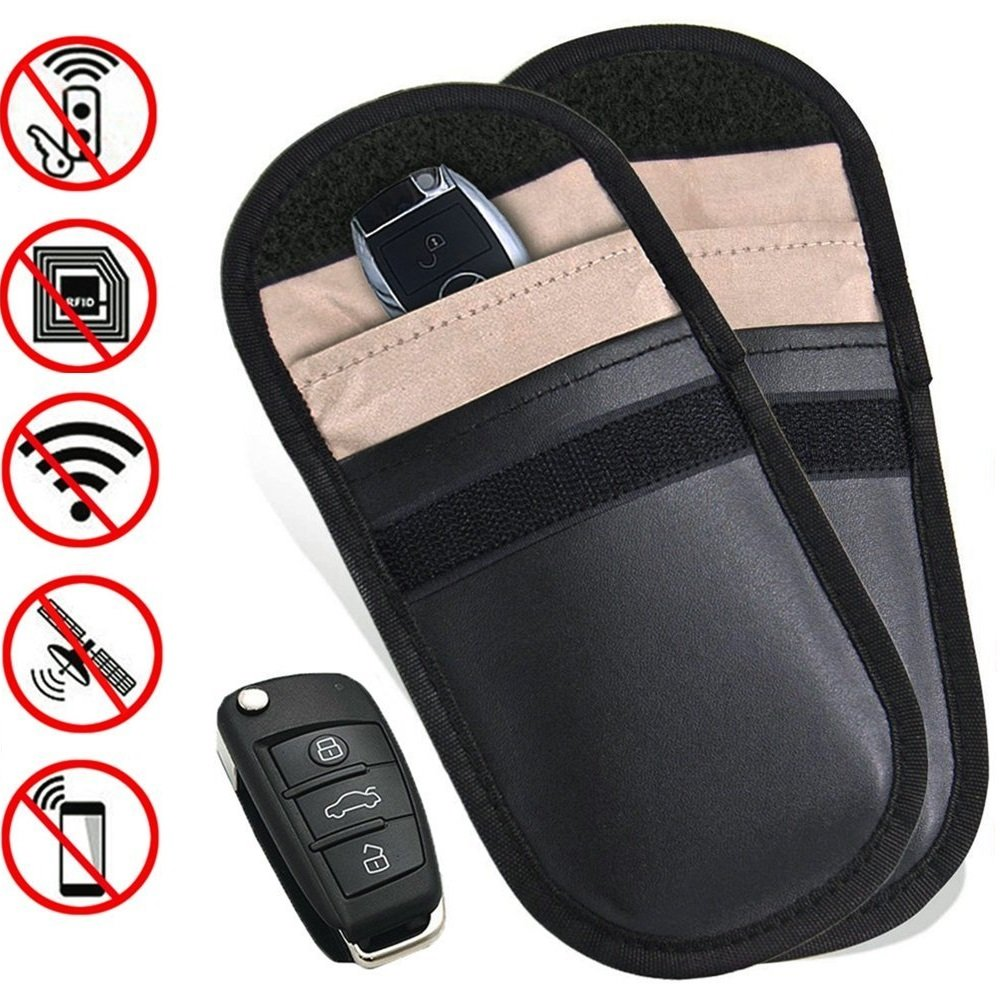 Car Key Signal Blocker Case, Cell Phone Signal Blocking Pouch Bag Anti-Radiation Faraday Bag RFID Keyless Entry Fob Guard EMF Protection Privacy Security WIFI/GSM/LTE/NFC Protector