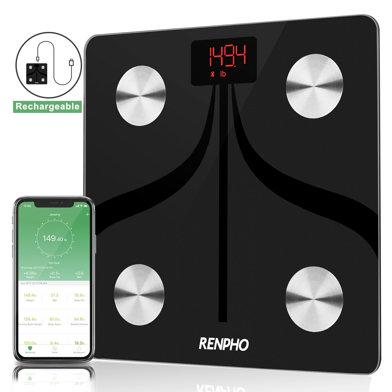 RENPHO Bluetooth Body Fat Scale USB Rechargeable Smart Digital Bathroom Weight Scale with Smartphone App Wireless BMI Scale for Body Weight, Body Fat%, BMI, Water, Muscle Mass Body Fat Monitors, 396 lbs product image