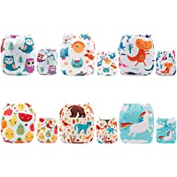 ALVABABY Cloth Diaper Pocket Washable Adjustable Reuseable Boy And Girl Nappies Cover 6 Pack With 12 Inserts Gift Sets 6DM13