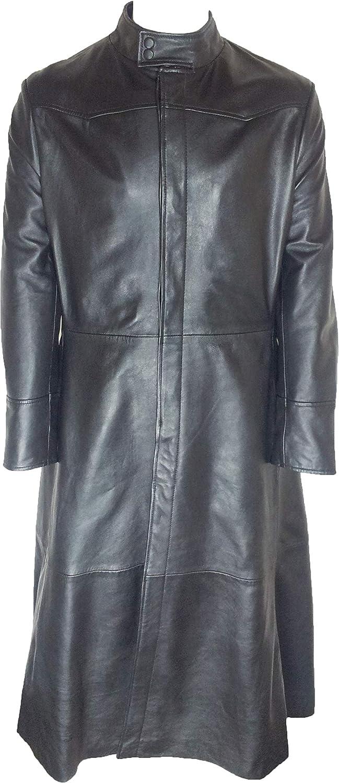 Unicorn Mens Neo Matrix Full Length Jacket Real Coat Gifts Leather Max 41% OFF Bla