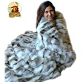 Gray and White Patch Rabbit Faux Fur Throw Blanket Soft Cuddle Fur Minky Lining (5'x8')