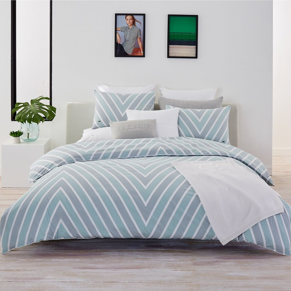 Lacoste Bandol Green and Grey Chevron Striped Brushed Twill Duvet Set, Full/Queen