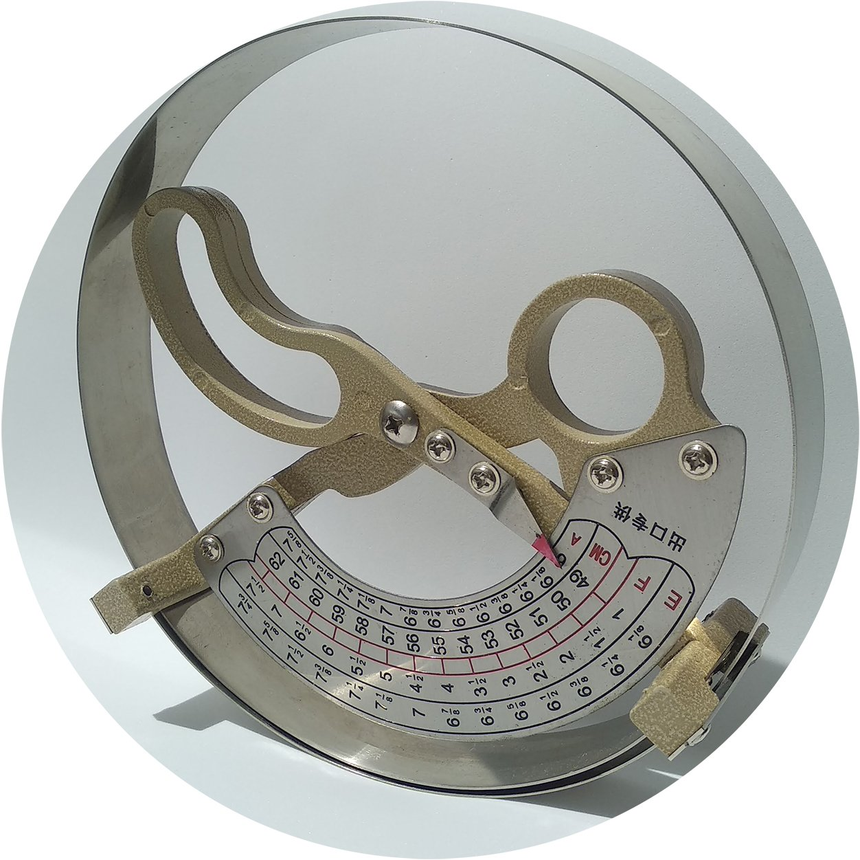 Hat Measuring Tool Size Measure Ruler Stainless Steel Handle Scale Ruler Sizers AKIZON WS-001-HAT-TOOL-62
