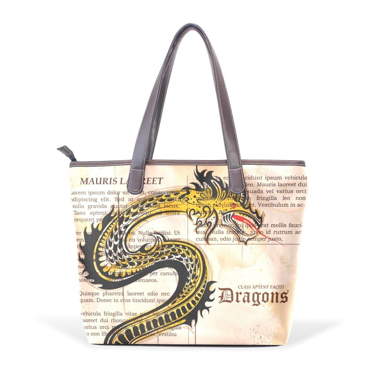 Dragon Print Women's Fashion Large Tote Shoulder Bag Ladies Handbag