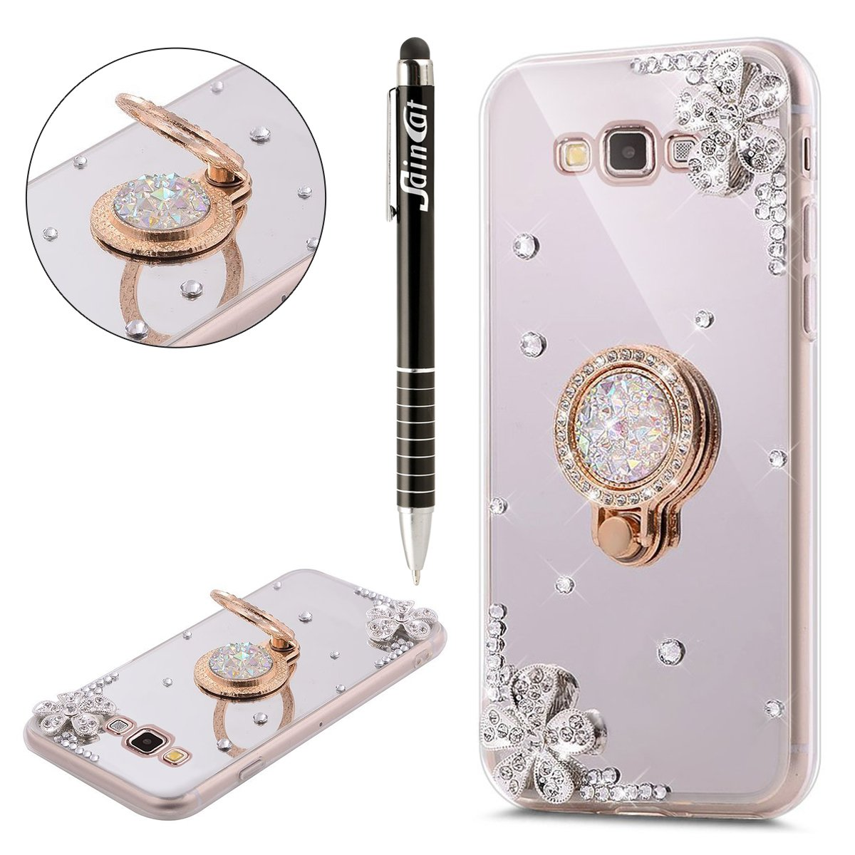 Custodia Galaxy Core Prime, Galaxy Core Prime Cover Sottile Silicone, SainCat Cover per Samsung Galaxy Core Prime G360 Silicone Morbido Glitter, Bling Glitter Diamonds Shock-Absorption Ultra Slim Transparent Silicone Case Ultra Sottile Morbida Gel Cover TP