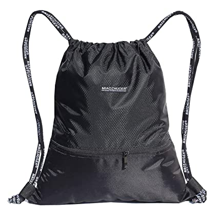 b88d73c5794e ESVAN Proof Gymbag Large Drawstring Backpack Gymsack Sackpack for Sport  Traveling Basketball Yoga Running(Black