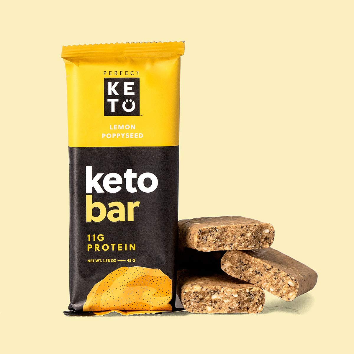 Perfect Keto Bar, Keto Snack (12 Count), No Added Sugar. 10g of Protein, Coconut Oil, and Collagen, with a Touch of Sea Salt and Stevia. (12 Bars, Lemon Poppyseed) by Perfect Keto