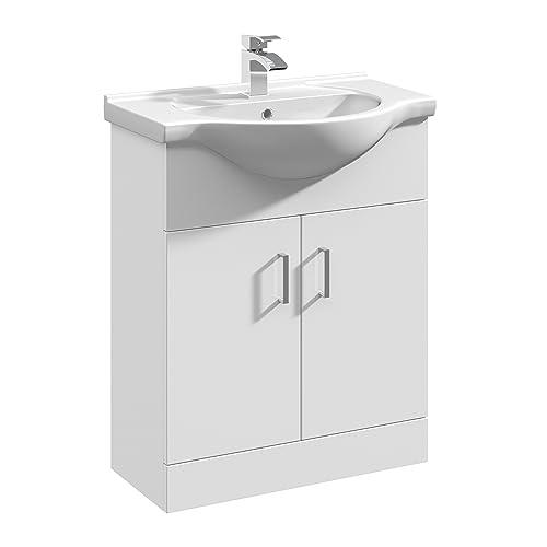 Premier 650mm Rigid High Gloss White Bathroom Vanity Unit Basin Sink Storage Cabinet Furniture