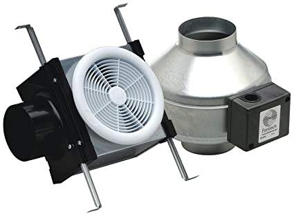 Fantech PB110 Inline Exhaust Bath Fan Kit, 110 CFM, Remote Mount Fan, For