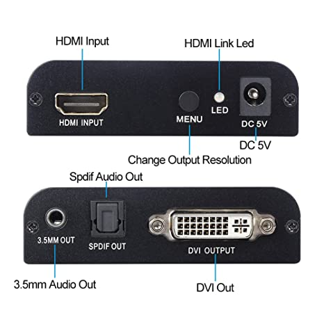 HDMI a DVI con audio Spdif DVI-I Video Converter Auto Scaler Adapter 1080P para HDTV HD Proyector Apple TV Blu-Ray Player PS4: Amazon.es: Electrónica